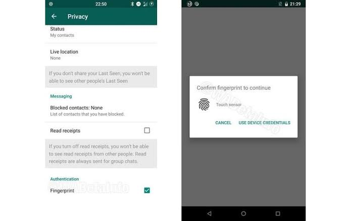 WhatsApp's fingermark characteristics is presently on Android