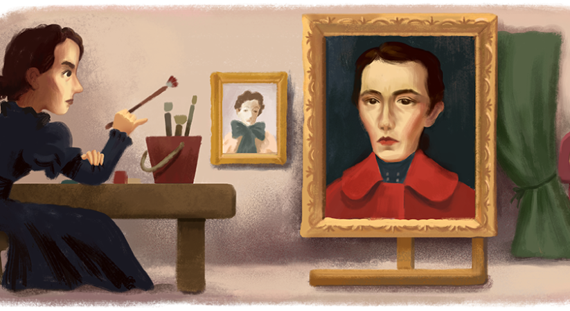 Google doodle celebrates the 155th birthday of Portuguese artist Aurélia de Souza
